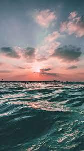 Sunset Sea Sky Ocean Summer Green Water ...