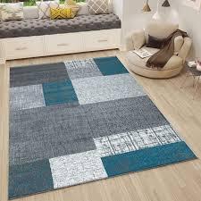 Vimoda Teppich Kurzflor In Türkis Blau Grau Weiß Wohnzimmer Teppiche Modern Kachel Optik Pflegeleicht 80x150 Cm