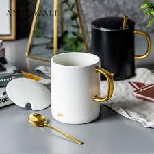 Office coffee mugs Workplace Antowall European Ceramic Drinkware Marble Mug Breakfast Office Coffee Mug Black And White With Lid Couple Gift Box Gold Handle Best Custom Coffee Mugs Best Dhgate Antowall European Ceramic Drinkware Marble Mug Breakfast Office