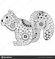 Doodle Gestileerde Eekhoorn Schets Voor Kleuren Afdrukken Boek