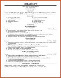 Sample Nanny Resume Objective Job Samples Personal Care Services