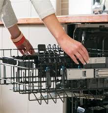 ge profile acirc cent series stainless steel interior dishwasher hidden easy touch adjustable upper rack 2 stem safe shelves