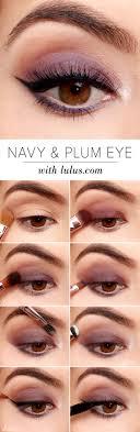 easy step by step eye shadow tutorials for beginners navy and plum eye look