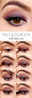 easy step by step eyeshadow tutorials for beginners navy and plum eye look