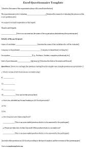 Questionnaire Template Excel