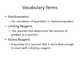 voary terms stoichiometry limiting reagent excess reagent