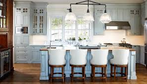 distressed blue kitchen cabinets
