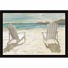 Adirondack chairs on beach Tropical This Button Opens Dialog That Displays Additional Images For This Product With The Option To Zoom In Or Out Walmart Two Adirondack Chairs On Sandy Beach Coastal Painting Blue Tan
