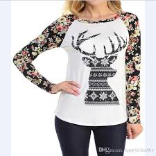 Pom Pom Jersey Size Chart Women Christmas Floral Raglans Reindeer Printed Casual Floral Sleeve Shirt Christmas Black And White Deer Pullover Women Pom Jersey Raglans