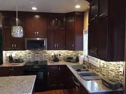 upper cabinet lighting. Cherry Bordeaux Cabinets, Stacked Upper Kitchen Remodel, Renovation, Dark Cabinets Cabinet Lighting