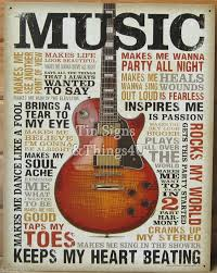 Retro Kitchen Wall Decor Details About Music Inspires Me Tin Sign Metal Poster Vtg Guitar
