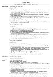 Vp, Quality Assurance Resume Samples | Velvet Jobs