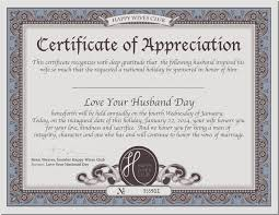 Certificateofappreciation National Love Your Husband Day Husband