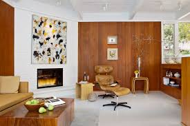 mid century modern rustic living room living room midcentury with ceiling lighting fireplace hearth brick fireplace