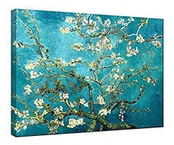 wieco art almond blossom modern framed floral giclee canvas prints by van gogh famous oil on famous wall art prints with amazon wieco art almond blossom modern framed floral giclee