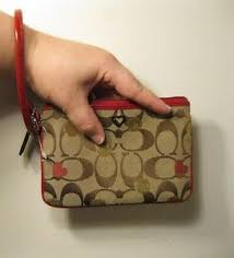 Image is loading Authentic-Coach-Poppy-wristlet-wallet-brown-tan-red-