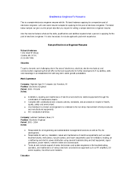 Electronics Engineer Resume Sample Nguonhangthoitrang Net