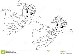Happy Superhero Kid Kids Flying Isolated Coloring Page Stock