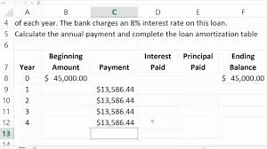 loan amortizing loan amortization table in excel youtube