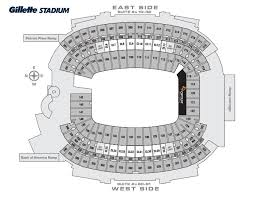 Gillette Seat Map Gillette Stadium Concert Seating Chart For