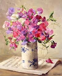 anne cotterill painting of sweet peas