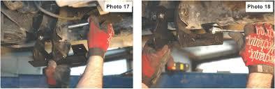 torsion bar crossmember drop brackets. drop bracket and onto the frame. install torsion bar cross member using bolts from bag 6. torque upper lower to 55 ft lbs. crossmember brackets u