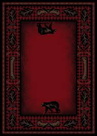 details about 8x10 lodge cabin area rug mountain plaid red black rustic bear canoe paw oar