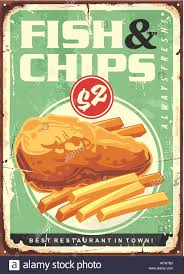 Fish And Chips Design Fish And Chips Retro Ad Tin Sign Design Fried Fish Fillet