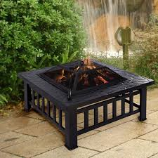 square metal 32 outdoor stove bbq fire pit patio heaters climate control appliances household appliances home garden
