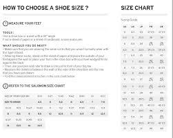 salomon size charts salomon shoes size chart