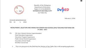 Deped San Pablo City Recruitment Selection And Hiring For Senior
