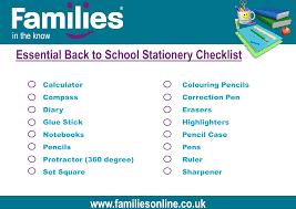 Checklist For School Your Essential Back To School 2017 Stationery Checklist