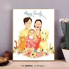 Tranh tô màu số hóa Tranh gia đình hạnh phúc cute đơn giản dễ vẽ GD0934  Happy family
