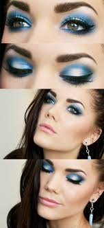 blue makeup is so hard to wear flat without looking crazy but with some blending and highlighting the lid it can look stunning don t forget your falsies