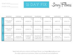 21 Day Fix Workout Schedule Printable And Hybrid Calendars
