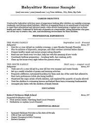 Babysitter Resume Sample Template Unique Babysitter Resume Sample Writing Tips Resume Companion Sample Resume