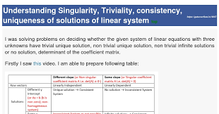 understanding singularity triviality consistency uniqueness of solutions of linear system gate overflow