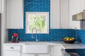 bright blue backsplash in 1940s vintage glam kitchen