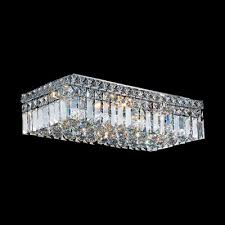 worldwide lighting cascade rectangular 4 light crystal flush mount