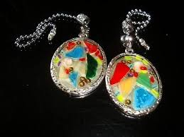 a pair of sea glass ceiling fan light or lamp pull chains one of a