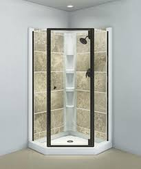 Sterling Solitaire Deep Bronze Neo-Angle Corner Shower Door with Clear  Glass at Menards