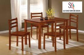 slk home solid wood dining table starter with 4 chair 1 4