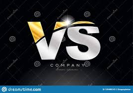 Combination Letter Vs V S Alphabet With Gold Silver Grey