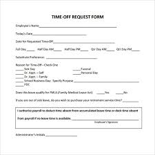 Days Off Request Form Template Sample Time Off Request Form 23 Download Free Documents In Pdf
