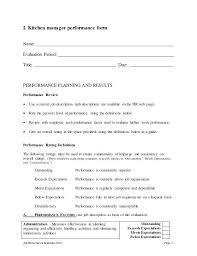 kitchen manager checklist kitchen manager self appraisal 3 kitchen