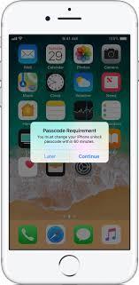 ios11 iphone7 passcode requirement alert