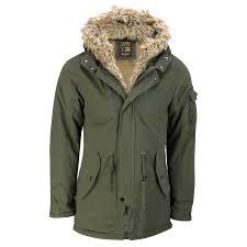 mens warm winter retro parka jacket khaki detachable faux fur lining hood coat