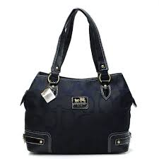 Coach Hamptons In Printed Signature Large Black Totes ANL