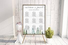 Woodland Winter Wedding Decor Forest Wedding Seating Chart Sign Mountain Wedding Printable Rustic Wedding Seating Table Plan