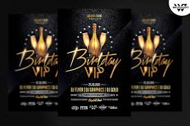 Birthday Flyers Template BIRTHDAY VIP Flyer Template Flyer Templates Creative Market 14